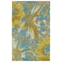 Hand-tufted Artworks Gold Floral Rug (2' x 3')