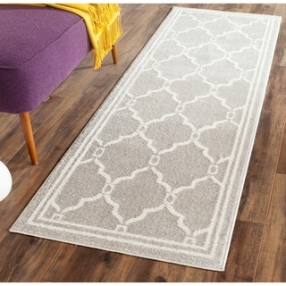Safavieh Indoor/ Outdoor Amherst Light Grey/ Ivory Area Rug (2'3 x 22')