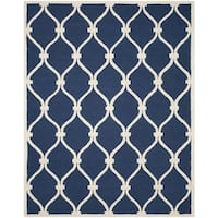 Safavieh Handmade Cambridge Navy/ Ivory Wool Rug (10' x 14')
