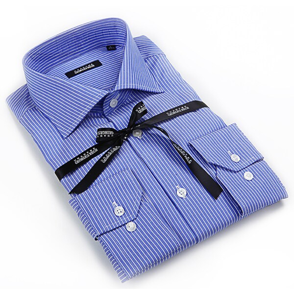 Georges rech men 39 s blue and white striped button down for Mens white button down dress shirts