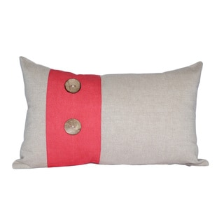 Decorative Red Panel Wood Button Cotton Lumbar Throw Pillow Cover