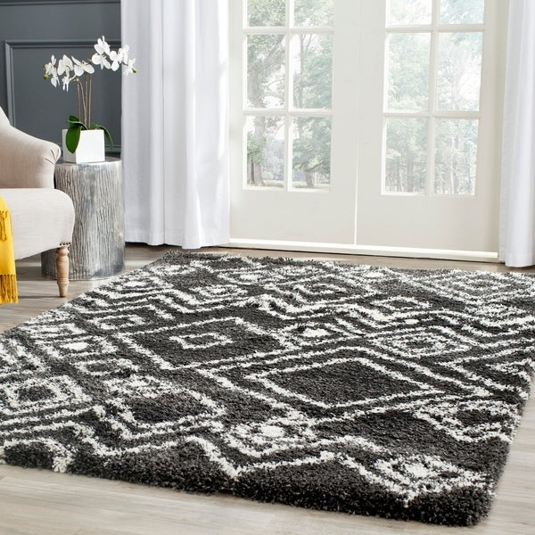Safavieh Belize Shag Charcoal/ Ivory Moroccan Area Rug - 8' x 10'