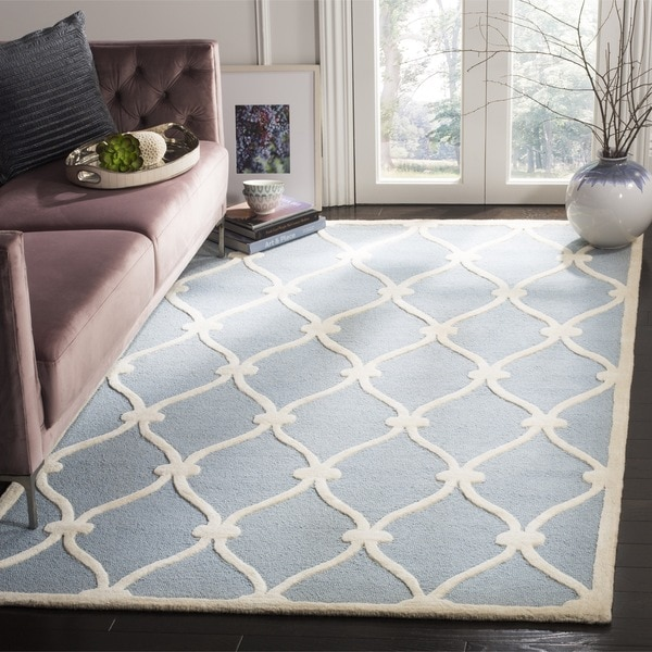 Safavieh Handmade Cambridge Blue/ Ivory Wool Rug - 10' x 14'