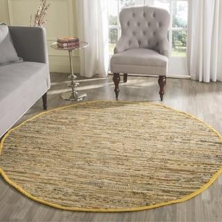 Safavieh Hand-woven Rag Rug Yellow/ Multi Cotton Rug (4' Round)