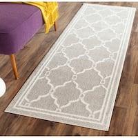 Safavieh Indoor/ Outdoor Amherst Light Grey/ Ivory Rug - 2'3 x 15'