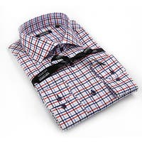 Georges Rech Men's Blue and Red Check Button-down Dress Shirt