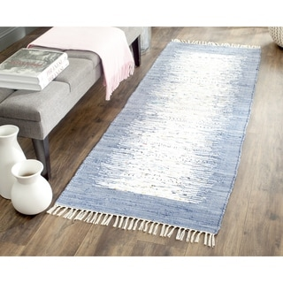 Safavieh Hand-woven Montauk Ivory/ Dark Blue Cotton Rug (2'3 x 8')