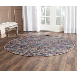 Safavieh Hand-woven Rag Rug Rust/ Multi Cotton Rug (4' Round)