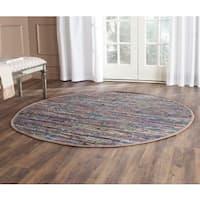 Safavieh Hand-woven Rag Rug Rust/ Multi Cotton Rug - 4' x 4' Round