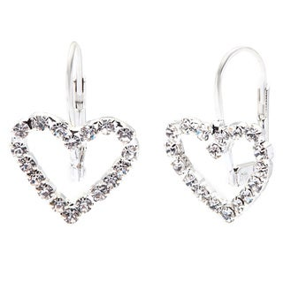 Detti Originals Crystal Silver Tone Heart Earrings