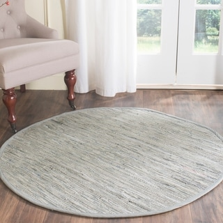 Safavieh Hand-woven Rag Rug Grey/ Multi Cotton Rug (4' Round)