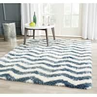Safavieh Montreal Shag Ivory/ Blue Stripe Polyester Rug - 8'6 x 12'