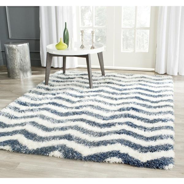 Safavieh Montreal Shag Ivory/ Blue Stripe Polyester Rug (8'6 x 12') - 8'6 x 12'