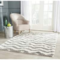 Safavieh Montreal Shag Ivory/ Grey Stripe Polyester Rug - 8'6 x 12'