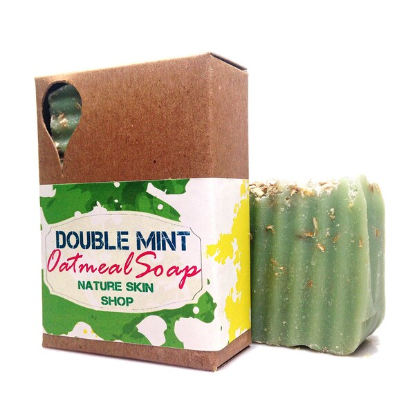 Handmade Double Mint Oatmeal Natural Soap. Opens flyout.
