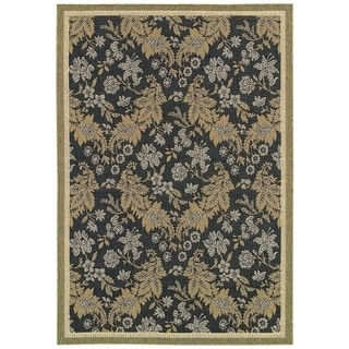 Couristan Monaco Palermo Black/ Champagne Rug (5'3 x 7'6) (As Is Item)