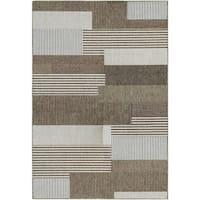 Samantha Graphic Stripe/ Sand Indoor/Outdoor Rug - 3'9 x 5'5