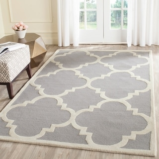 Safavieh Handmade Cambridge Silver/ Ivory Wool Rug (12' x 18')