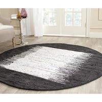 Safavieh Hand-woven Montauk Ivory/ Black Cotton Rug - 4' Round