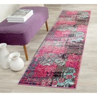 Safavieh Monaco Modern Abstract Pink/ Multicolored Distressed Rug - 2'2 x 8'