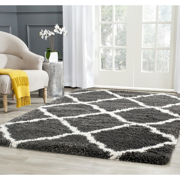 Safavieh Belize Shag Charcoal/ Ivory Moroccan Trellis Rug - 8'6 x 12'