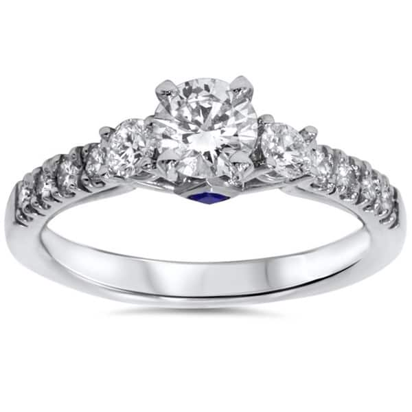 14k White Gold 1ct Tdw Diamond Sapphire Accent Engagement Ring On Sale Overstock 9511443