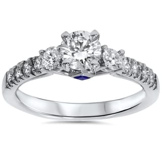 14k White Gold 1ct TDW Diamond Sapphire Accent Engagement Ring