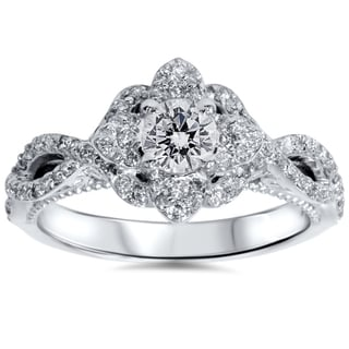 14k White Gold 1ct TDW Floral Halo Diamond Sapphire Accent Engagement Ring (I-J, I2-I3)