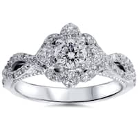 14k White Gold 1ct TDW Floral Halo Diamond Sapphire Accent Engagement Ring