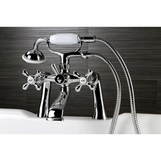 Victorian Deck-mount Clawfoot Chrome Tub Faucet with Hand Shower