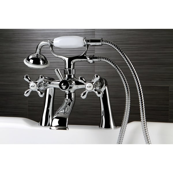 Victorian Deck-mount Clawfoot Chrome Tub Faucet with Hand Shower ...