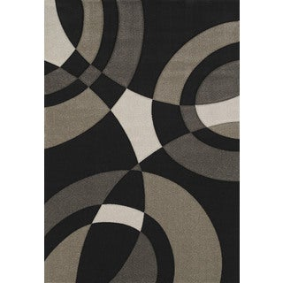 Hand-carved Townshend Rita Black Area Rug (7'10 x 11'2)