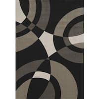 Hand-carved Townshend Rita Black Area Rug - 7'10 x 11'2