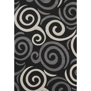 Hand-carved Townshend Addison Black Area Rug (7'10 x 11'2)