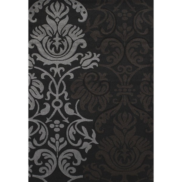 Hand-carved Townshend Rhonda Black Area Rug (7'10 x 11'2) - 7'10 x 11'2