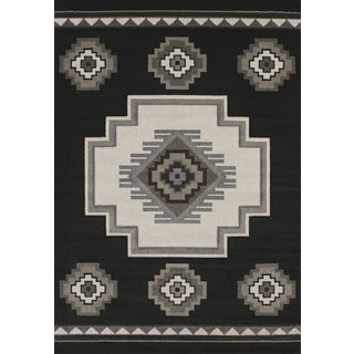 Hand-carved Townshend Ria Black Area Rug (7'10 x 11'2)