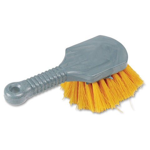 Rubbermaid Commercial 8-inch Grey Long Handle with Yellow Bristles Scrub (Pack of 4)