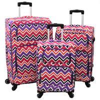 World Traveler Chevron New Wave 3-Piece Expandable Lightweight Spinner Upright Luggage Set
