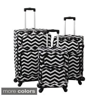 World Traveler Chevron 3-Piece Expandable Lightweight Spinner Upright Luggage Set