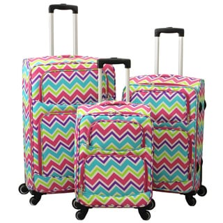 World Traveler Chevron New Wave 3-Piece Expandable Lightweight Spinner Upright Luggage Set