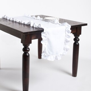 Ruffled Design Linen Table Runner or Tablecloth