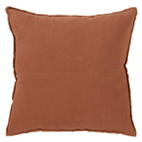 Fringed Design Down-Filled Linen Throw Pillow