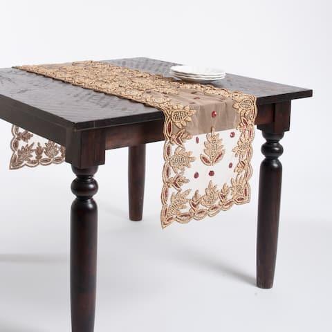 Hand Beaded Design Table Runner or Topper