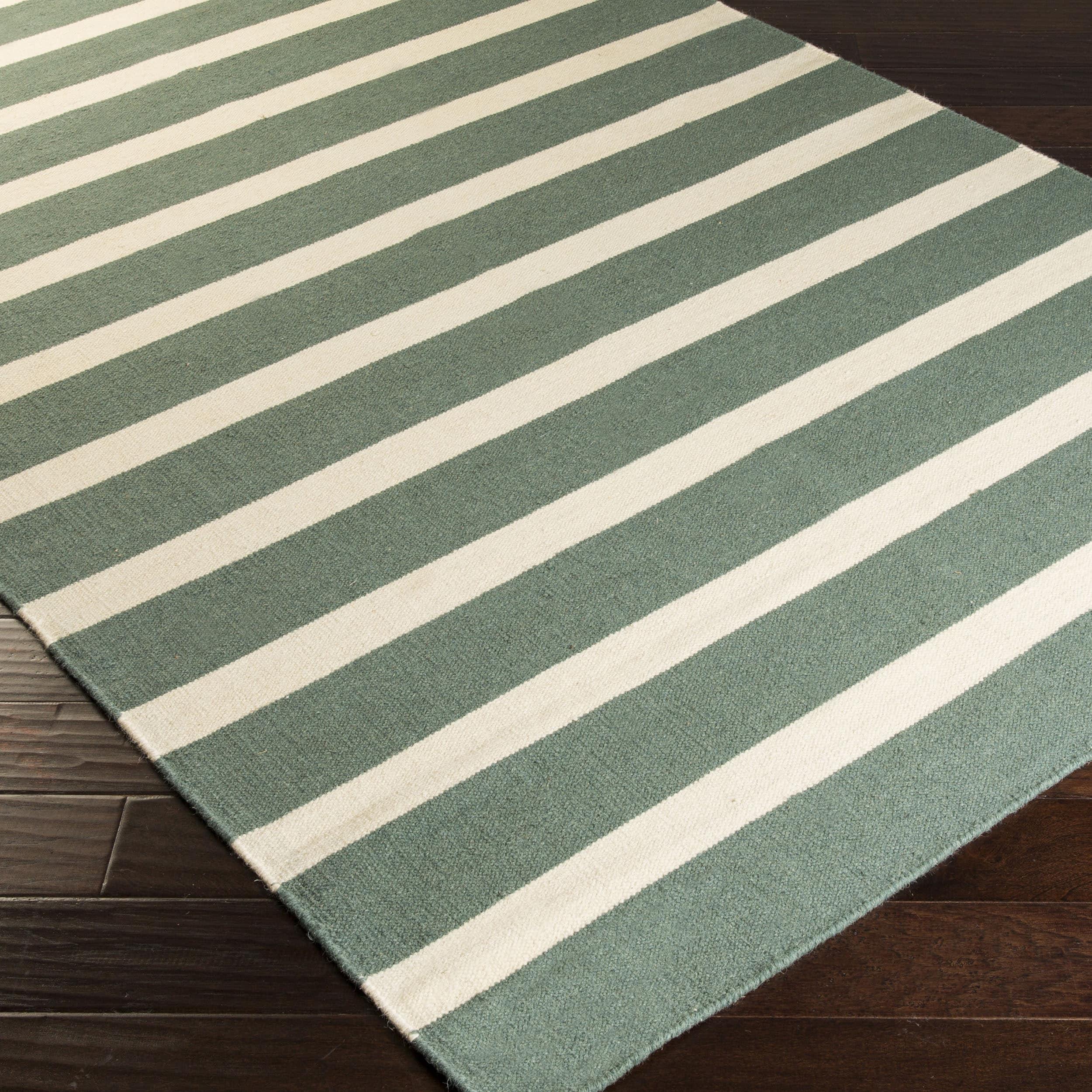 SURYA Huelva Flatweave Striped Runner (2'6 x 8') (Green -...