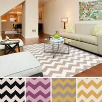 Hand-woven Dali Flatweave Chevron Wool Area Rug (8' x 11') - 8' x 11'