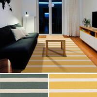 Hand-woven Vertou Flatweave Striped Wool Area Rug