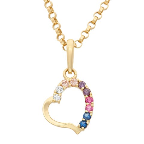 Junior Jewels 14k Gold Multi Color Cubic Zirconia Heart Pendant Necklace with Gold Filled Chain