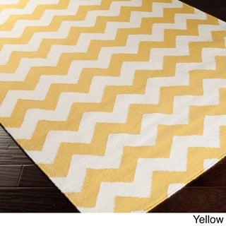Hand-woven Evreux Flatweave Chevron Wool Runner Rug - 2'6 x 8' (Option: Yellow)