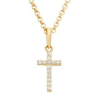 Junior Jewels 14k Gold Cubic Zirconia Designer Cross Pendant Necklace With Gold Filled Chain