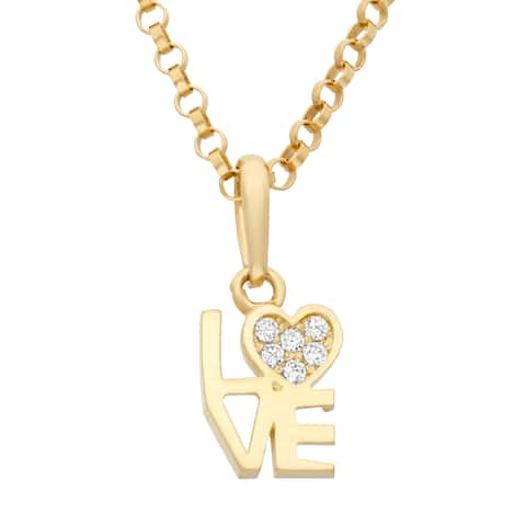 "Junior Jewels 14k Gold Cubic Zirconia ""LOVE"" Heart Pendant Necklace With Gold Filled Chain"